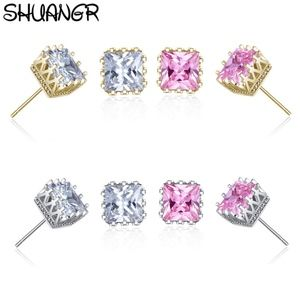 Jewelry - Square Cut Austrian Crystal Crown Stud Earrings